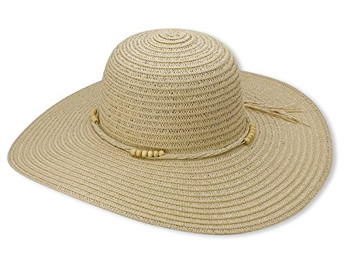 Beach Straw Floppy Hat For Women By Debra Weitzner - Large, Wide Brim For Excellent Sun Protection - Packable Crushable Summer Sunhat For Ladies - Stylish, Fashionable Design - Beige (Ladies Large Brim Hats)