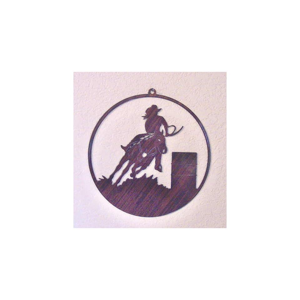 Window Art Hanging   Barrel Racer and Horse   Laser Cut Steel