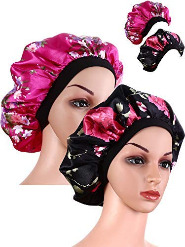 2 Pieces Wide Band Satin Cap Sleep Bonnet Soft Night Sleep Hat for Women and Girls (Black and Rose red)
