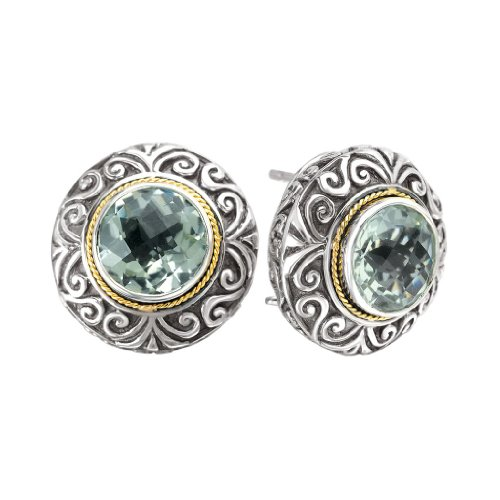 925 Silver & Green Amethyst Round Scroll Earrings with 18k Gold Accents