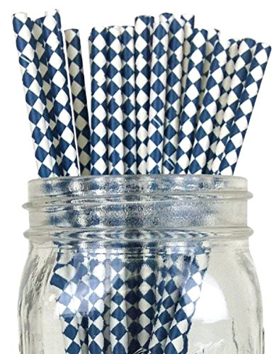 - Blue White Harlequin Pattern 100 Count Size 7 3/4 inch Harlequin Design Paper Drinking Straw Baking Sticks Cake Pop Sticks For Cake Pops Lollipops Crafts Cupcake Toppers Rock Candy and Brownie Pops