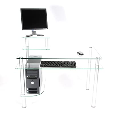 02b2ce1dfab Amazon.com  RTA Home and Office CT-009 Clear Glass and Aluminum Computer  Desk  Kitchen   Dining