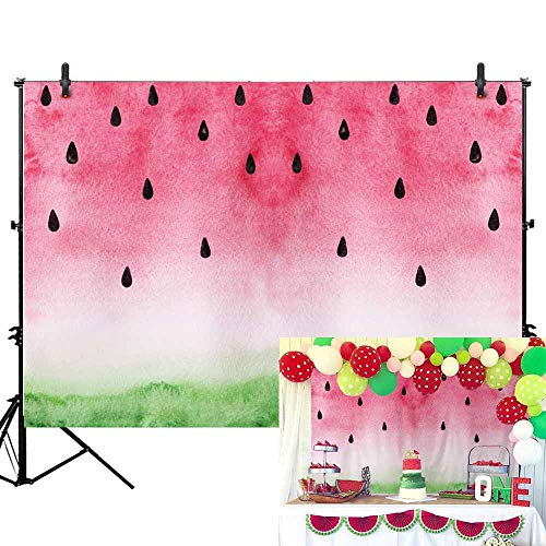 Allenjoy 7x5ft Soft Fabric Watermelon Backdrop for Infant Newborn Baby Portrait Baby Shower Photography Kids Girl First 1st Birthday Party Background Summer Twotti Frutti Party Banner Cake Table Decor