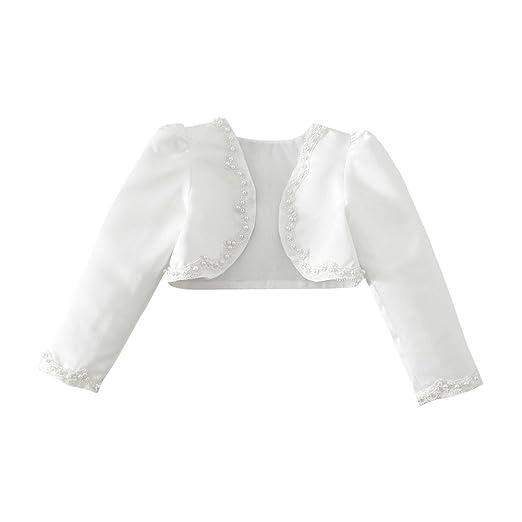 YiZYiF Kinder Mädchen Kommunionjacke Jacke Bolero Kommunion Jacken Schulterjacke zum Blumenmädchen Festlich Kleid Ivory-Weiß