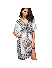 Katuo Summer Beach Dress Bohemian Sexy Party Dress Plus Size V-neck