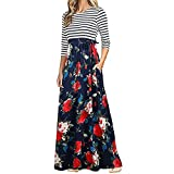 BCDshop Women Casual Floral Long Sleeve Boho Maxi Dresses with Pockets High Waist (Red, L)