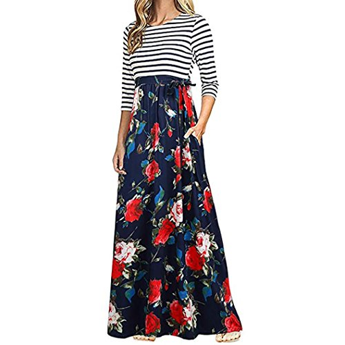 BCDshop Women Casual Floral Long Sleeve Boho Maxi Dresses with Pockets High Waist (Red, L) ()