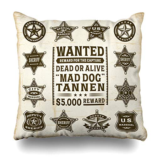 DIYCow Throw Pillow Cover Pillowcase Police Western Vintage Sheriff Marshal Ranger Lawman Badges Star Texas West Wild Wanted Badge Home Decor Design Square Size 16
