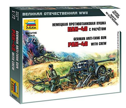 Zvezda Models 1/72 German Anti Tank Gun Pak-40 with Crew Model Kit
