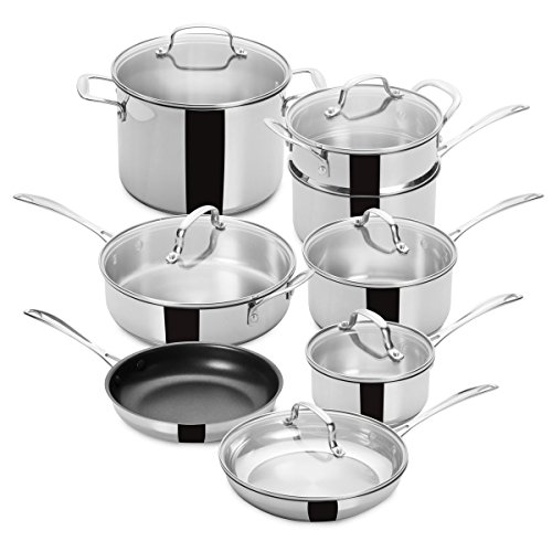 FortheChef's 14 Piece Superior Tri-Ply Bottom Full Mirror-Finish Stainless Steel Cookware Set with Glass Lids, Induction-Compatible