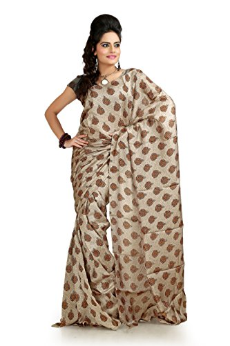 Bollywood Women's Indian Ethnic Designer Cream & Mustard color Khadi Silk Party Wedding Saree with saree Blouse Unstitched