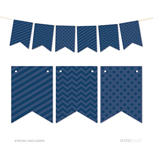 Andaz Press Hanging Bunting Banner Party Decor with String, Navy (Blue Personalized Banner)