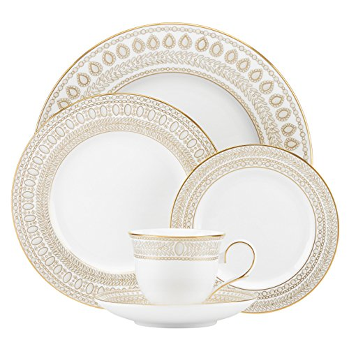 Lenox Marchesa Gilded Pearl 5 Piece Place Setting, White (Pearl Beaded Plate)