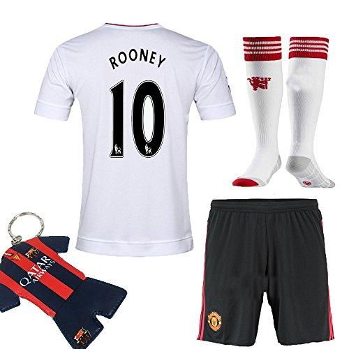 85%OFF Soccer Kids 2015-2016 Football Soccer Rooney  10 United away Jersey  Short Sleeve   Shorts   Socks   Key Chain Kids Youth Size 89e139e38