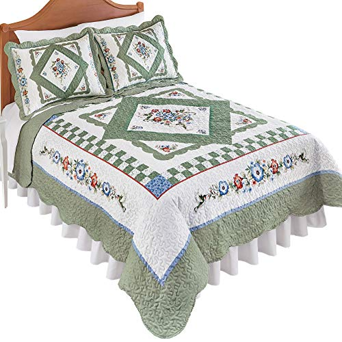 Reversible Hummingbird Floral Diamond Microfiber Quilt with Scalloped Edges and Color Accents of Sage and Light Blue, Blue/Green, King