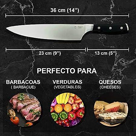 Cuchillo de Cocina PERSONALIZADO, Cuchillos Chef profesional 36cm, Alta durabilidad Mango ergonómico, Hoja ultra afilada, resistente y elástica de acero inoxidable.Regalo día del padre y madre