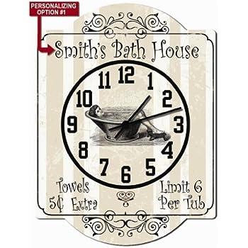 Bath House   Bathroom Personalized Hardboard Clock Sign From Redeye  Laserworks