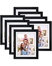 Giftgarden 8x10 Picture Frames Black, Matted to 8 x 10 Cadre Photo with Mat for Wall Floating or Tabletop, Set of 8
