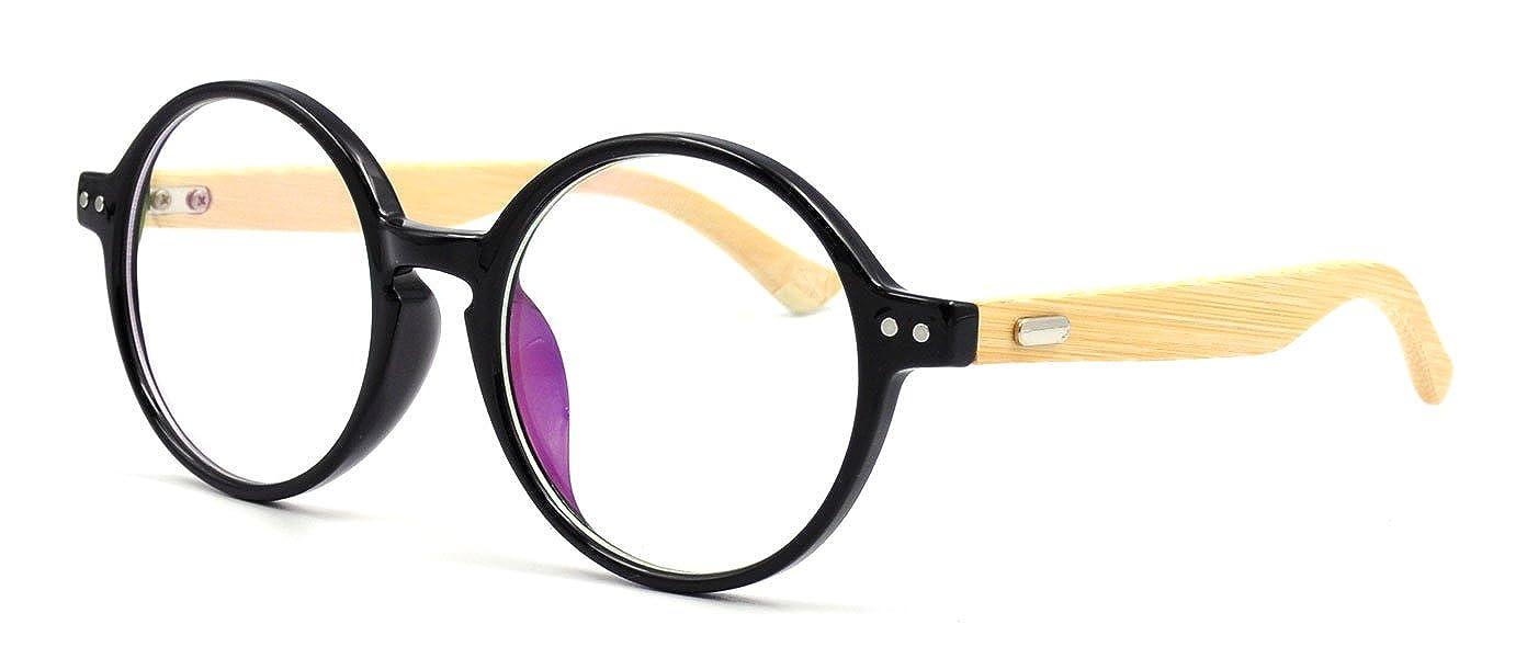 eb1ad42dbfa Amazon.com  Amillet Bamboo Wood Vintage Round Eyeglass Frames 48-20-138   Clothing