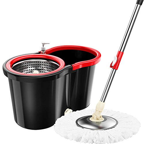 Mop Bucket Set 360° Spin Press System- Push & Pull Rotation - Dirty Water Drain Hole - Easy Wring with Reusable Mop Heads - Non Pedal , TB04 (Black) Press Wring Bucket