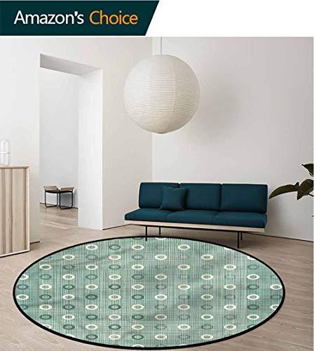 RUGSMAT Polka Dots Modern Machine Washable Round Bath Mat,Ring Form Circular Motif Coffee Table Mat Non-Skid Living Room Carpet Round-51