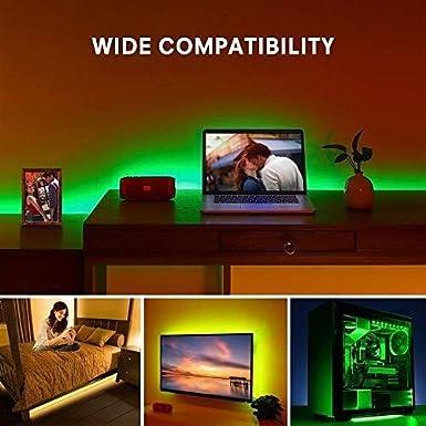 HKHJN Luz de fondo de TV LED con control remoto, iluminación polarizada RGB impermeable de 2 metros Tira de luz LED USB for monitor de PC HDTV de 40-60 pulgadas Tira de