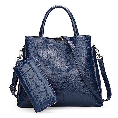 Womens 2 Piece Tote Bag Leather Handbag Crossbody Bags Set (Blue) - 1