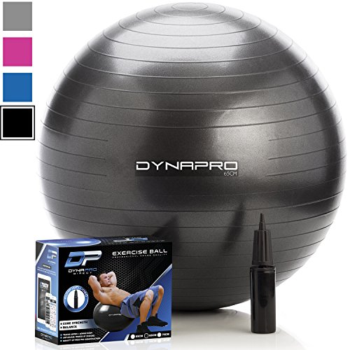 DYNAPRO Exercise Ball - 2,000 lbs Stability Ball - Professional Grade - Anti Burst Exercise Equipment for Home, Balance, Gym, Core Strength, Yoga, Fitness, Desk Chairs (Black, 55 Centimeters) ()