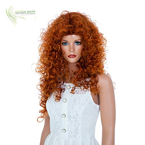 ENJOY THE DIFFERENCE Curly Hair Woman Party Wig White Black and Ginger for Halloween and Daily use Merida Gypsy Drag Queen (376T) -