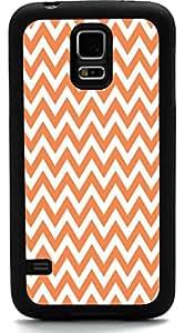 Rikki KnightTM Autumn Orange Chevron Zig Zag Stripes Design Samsung® Galaxy S5 Case Cover (Black Rubber with front Bumper Protection) for Samsung Galaxy S5