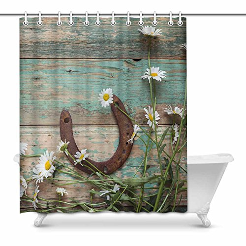 InterestPrint Rusty Horseshoe and Daisies on Rustic Old Barn Wood Decor Waterproof Polyester Fabric Shower Curtain Bathroom Sets with Hooks, 60(Wide) x 72(Height) Inches