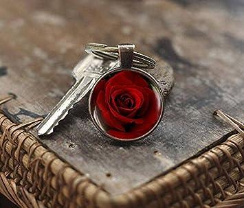 Rosa Roja Flor Rosa foto llavero, llavero, llavero, diseño ...