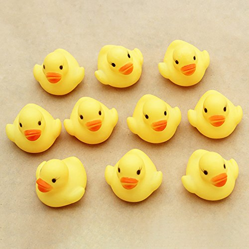 WFFO 10PC Squeezing Call Rubber Duck Ducky Duckie Baby Shower Birthday Favors (Yellow) -