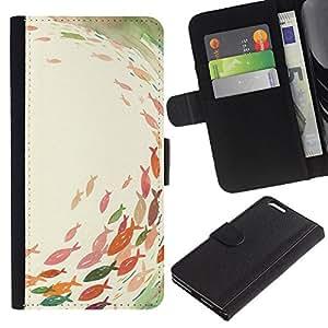 Planetar® Modelo colorido cuero carpeta tirón caso cubierta piel Holster Funda protección Para Apple (5.5 inches!!!) iPhone 6+ Plus ( Pond Fishing Pastel Watercolor Art )