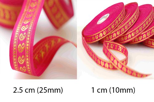 (Stunning Paisley Trimming Ribbon in a combination sizes of 1cms and 2.5cms widths. Can be used single or combined both together as a set. It's a real traditional and versatile size for any use form sewing to d2cor! Available in 2 Colour 1) Cerise Pink; 2) Orange. Great Price. Great Quality.)