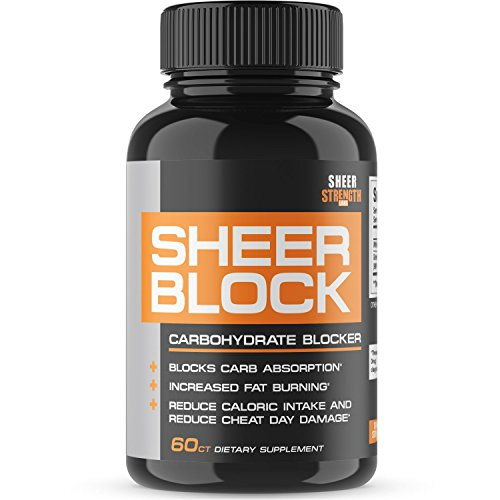 Extra Strength Carb Blocker - Healthy Weight Loss Support for Women and Men - White Kidney Bean and Green Tea Extract - Premium Non-GMO Diet Pills - 60ct - Block 2.0 from Sheer Strength Labs