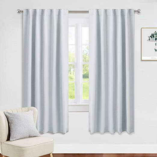 Amazon Com Pony Dance Greyish White Curtains 42 Wide By 72 Long Room Darkening Home Decor Window Treatments Light Block Drapes For Living Room Bedroom With Back Tab 2 Panels Home Kitchen