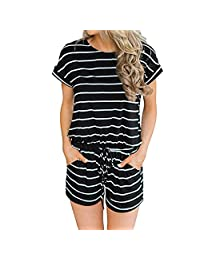 Mai Poetry Women's Striped Jumpsuit Casual Loose Short Sleeve Jumpsuit Rompers Shorts