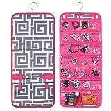 Zodaca Jewelry Hanging Travel Organizer Roll Bag, Gray Greek Key Pink Trim