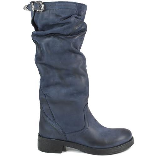 scarpe di separazione fe16d b2399 In Time Stivali Biker Boots Alti Donna 0288 Blu Arricciati ...