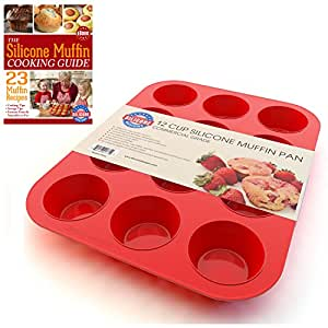 Silicone Muffin Pan and Cupcake Maker 12 Cup, Red, Plus Muffin Recipe Ebook