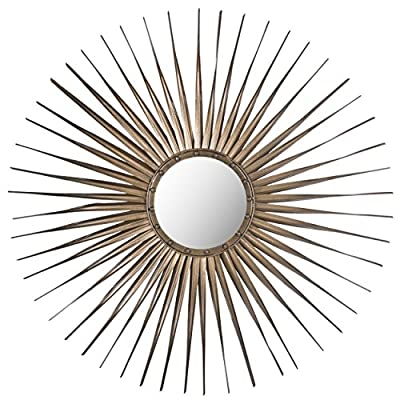 Safavieh Home Collection Shanira Mirror, Gold - This mirror features a gold finish Perfect for use as an accent, focal point of your room or as a functional mirror Crafted of iron, wood and glass - bathroom-mirrors, bathroom-accessories, bathroom - 51hP4alRXIL. SS400  -