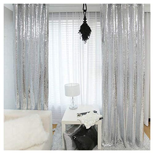 2 Pieces 2FTx8FT Silver Sequin Curtain Wedding Party Backdrop Photography Background Christmas Sequin Panels