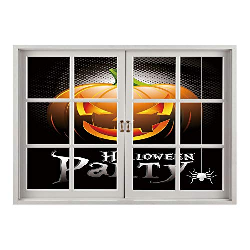 SCOCICI Wall Mural, Removable Sticker, Home Décor/Halloween,Halloween Party Theme Scary Pumpkin on Abstract Modern Backdrop Spider Decorative,Silver Black Orange/Wall Sticker Mural ()