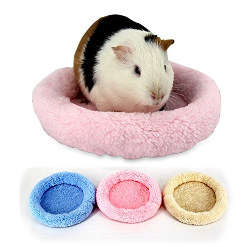 Hamster Bed, Round Velvet Warm Sleep Mat Pad For Hamster GuineaPig Hedgehog Squirrel Mice Rats Chinchilla Small Animals (L, Pink) (Velvet Pet Bed)