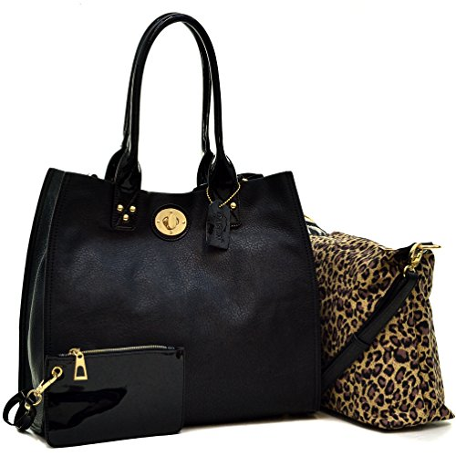 Dasein 3-in-1 Tote Satchel Shoulder Bag Handbag Pursewith Patent Leather Trim - (Black - New)