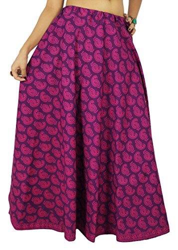 Swara Floral Femmes D'Impression Coton Jupe Vtements Purple Vtements De Plage Boho Dentelle Voilet et Magenta