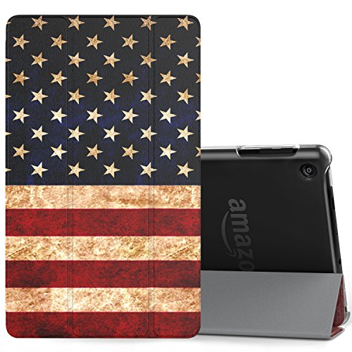 MoKo Case for All-New Amazon Fire HD 8 Tablet (7th/8th Generation, 2017/2018 Release) -Lightweight Slim Shell Stand Cover with Translucent Frosted Back for Fire HD 8, US Flag (with Auto Wake/Sleep)