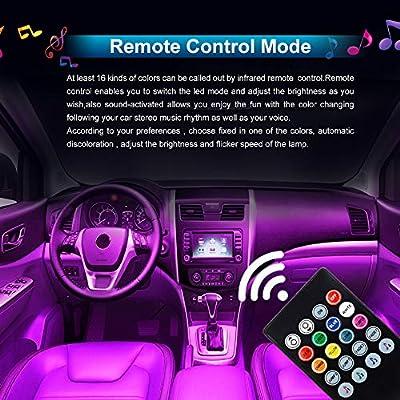Interior Car Lights,HYB Car LED Strip Light Waterproof Wireless Remote Lighting Kits,USB LED Interior Lights RGB Multi DIY color Music UnderDash Car Lighting with Car Charger DC 12V,4pcs 48 LED: Automotive