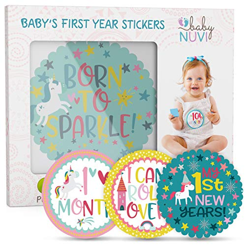 Baby Monthly Milestone Stickers for Girls – 28 Pack Month Stickers for Baby Girl - Unicorn Girl Baby Registry Must Haves for Newborn Shower Gifts – Perfect Numbers Set for Year Scrapbook -